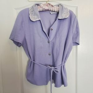 Vintage Lilac Button Tshirt with Lace Coll…